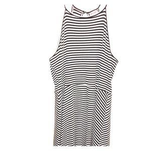 Black/white halter dress
